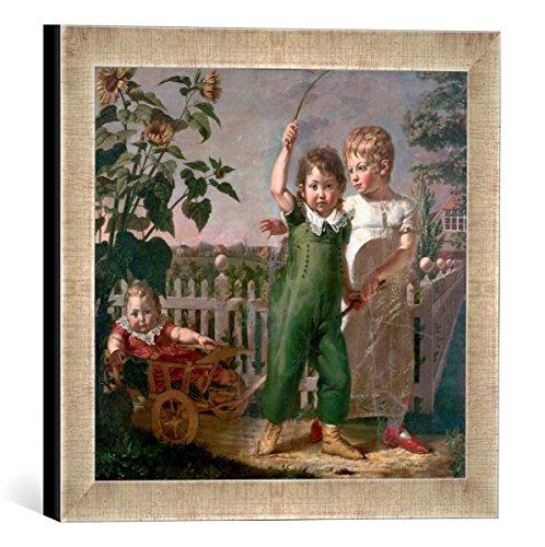 Gerahmtes Bild von Philipp Otto Runge Die Hülsenbeckschen Kinder, Kunstdruck im hochwertigen handgefertigten Bilder-Rahmen, 30x30 cm, Silber Raya
