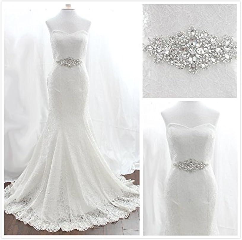 Trlyc Wedding Sash Belt = Crystal Pearl 7 1/4