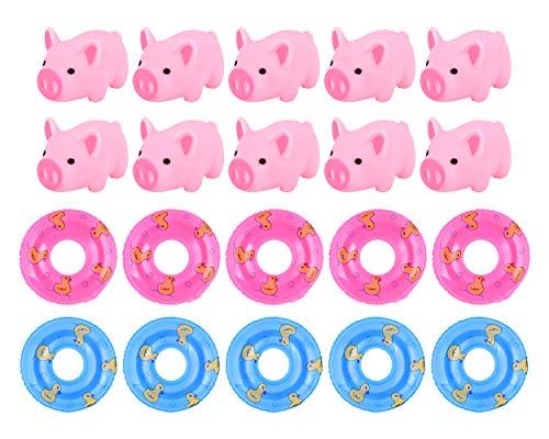 SCSpecial Juego de 20 Juguete de baño de Goma para bebés Cerdo Rosa de Goma con Mini Anillos de natación