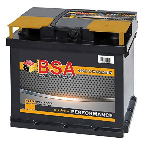 BSA Autobatterie 55Ah 12V Batterie 520A/EN +30{130882315a61c23a0a0e42c843a99733b96246fcc4818438b3f5493965b7ac26} Startleistung ersetzt 44Ah 45AH 50AH 52AH 46AH 55AH 47Ah 53AH