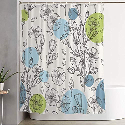 Rideau de douche Couleur Huile Flore Graines de plantes Herb Food Main Farm Fleurs florales Nature botanique Linum Ligne de croquis Décorations de salle de bain Tissu polyester imperméable avec croche