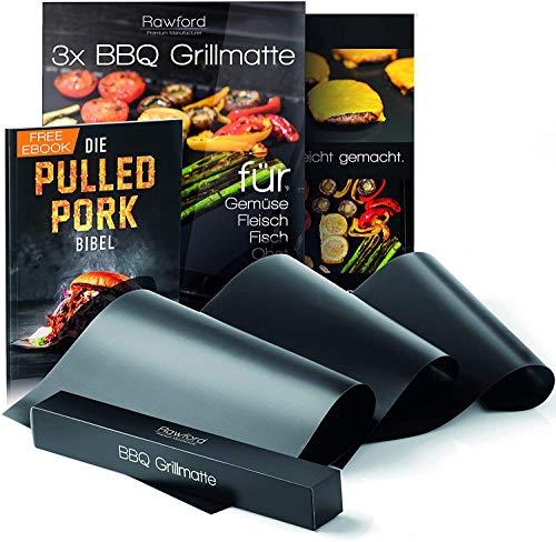 Rawford Grillmatte - Universell einsetzbare Grillmatten für Grill & Backofen - 0,3mm Dicke Grillfolie geeignet für Holzkohle-, Elektro- & Gasgrill - Spülmaschinenfeste BBQ Matte (3er Set)
