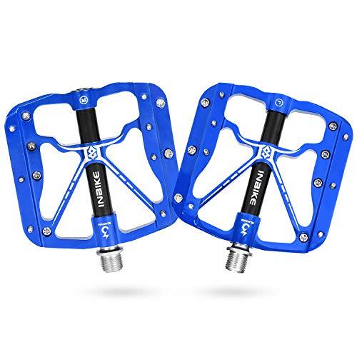 INBIKE Pedales Antideslizante De Bicicleta, Pedales Plataforma con Rodamiento 9/16 para MTB(Azul)