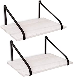 East World Floating Shelves Set of 2 Rustic Shelves Wall Mounted for Boho Decor, Country Rustic Wall Decor, Plant Shelf or Bookshelf (30lbs) White Wood Wall Shelf for Bedroom, Bathroom, Kitchen!