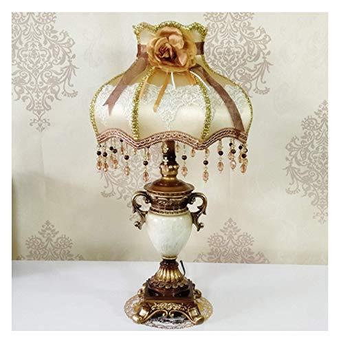 Lámpara de mesa estilo victoriano, lámparas de pie de noche de tela con patrón hecho a mano de 13 pulgadas, lámparas de lectura pintadas antiguas para dormitorio mesa de comedor