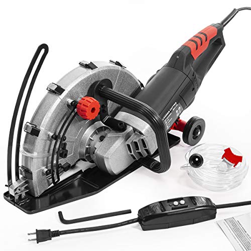 XtremepowerUS 2600W Electric 14' Disc Cutter Circular Saw Concrete Saw Power Angle Cutter Wet/Dry Circular Blade w/Guide Roller