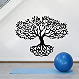 Calcomanía de pared de árbol abstracto hoja Natural raíz raíz vinilo ventana pegatina Yoga meditación habitación dormitorio decoración del hogar papel tapiz