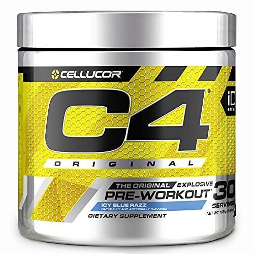 C4 Original Pre Workout Powder ICY Blue Razz - Vitamin C for Immune Support - Sugar Free Preworkout Energy for Men & Women - 150mg Caffeine plus Beta Alanine plus Creatine - 30 Servings