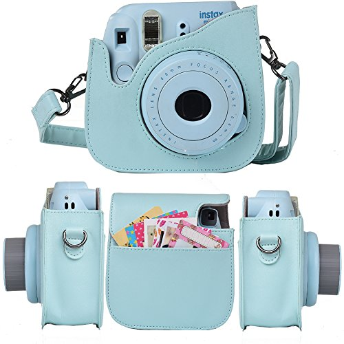 Protective & Portable Camera Case Compatible with Fujifilm Instax Mini 9 8 8+ Instant Film Polaroid Cameras with Accessory Pocket and Adjustable Strap - Flamingo by SAIKA
