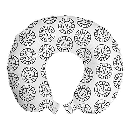 ABAKUHAUS Löwe Reisekissen Nackenstütze, Hand gezeichnet Bleistift Design-Köpfe, Schaumstoff Reiseartikel für Flugzeug und Auto, 30x30 cm, Kohlengrau