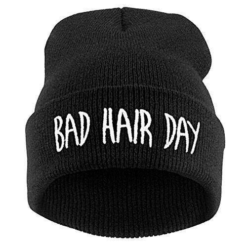 Cappello Berretto in Maglia Hip Hop alla Moda Cap Bad Hair Day per Inverno Autunno Primavera Colore Nero