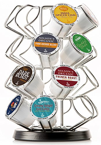 Java Concepts. Steel Carousel Holder Organizer for 24 Keurig K-Cup Pods. Chrome/Black