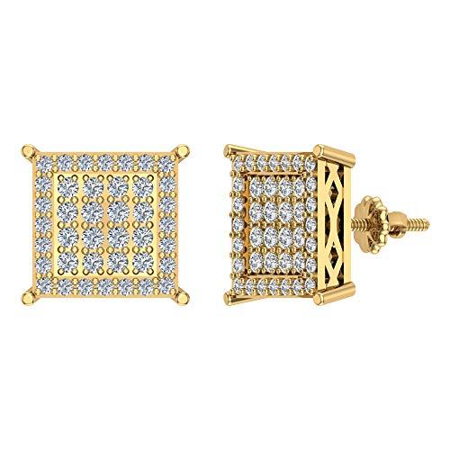 Pendientes de diamante cuadrado de 1,00 ctw en oro amarillo de 14 quilates