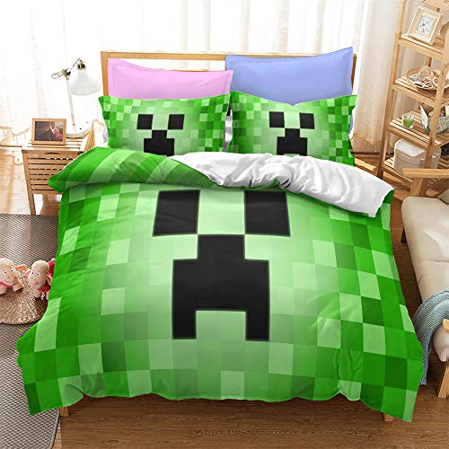 XXIGN Minecraft Juego de Funda Nordica Juvenil 200x200, Minecraft Juego de Cama 105 Chico Gamer Ligera con Funda de Almohada 50x75, Sets de Fundas Infantiles para Edredón