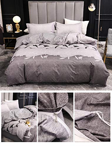 EWYTWD Duvet Cover Set Twin Size Molan-Gray Pattern 3 pcs Bedding Set+ 2 Pillowcases - Ultra Soft Duvet Covers Hypoallergenic Polyester Quilt Cover Sets 150x200cm