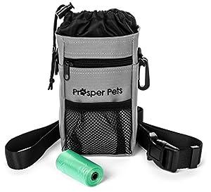 Prosper Pets Dog Treat Pouch avec distributeur de sac à déjections canines–Idéal pour le transport de friandises et jouets–Ceinture réglable 23–127cm avec rouleau de sacs poubelle