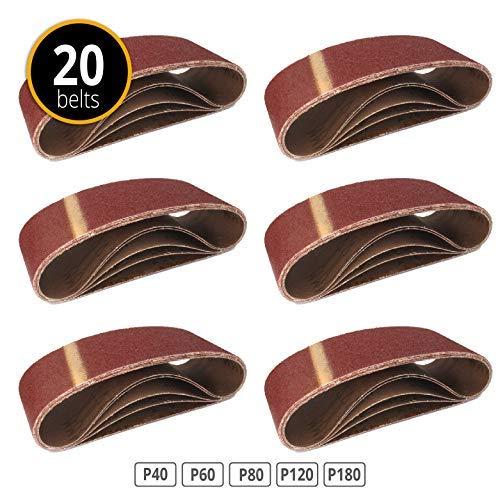 Gewebe-Schleifbänder │ 20 Stück │ 75 x 533 mm │ je 4 x Korn 40/60/80/120/180 │ für Bandschleifer │ Schleifpapier │ Schleifband-Set