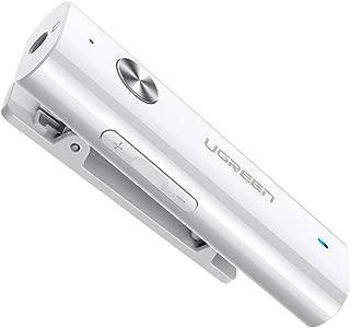 UGREEN 蓝牙接收器 5.0 HiFi 无线音频适配器带后夹支持麦克风 3.5 毫米 AUX 蓝牙适配器与手机、电脑、平板电脑和蓝牙发射器配对