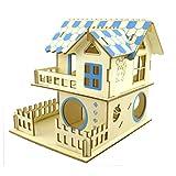 Shanado 木製 おもちゃ ハムスター ハウス 家小屋2階建て DIY ドールハウス 遊具キット ケージ 運動不足解消3D立体別荘 組立式ドールハウス ベッド 豪華 遊び巣 ペット 遊び場(タイプ1)