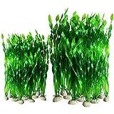 Plroinp 20 Piezas Acuario Decorativo de PláStico Artificial DecoracióN de la Pecera Plantas de PláStico (20 Piezas Verdes)
