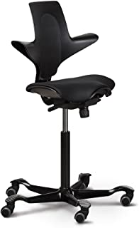 Capisco Ergonomic Office Chair with Saddle Seat (Puls Plus, Black with Black Base)