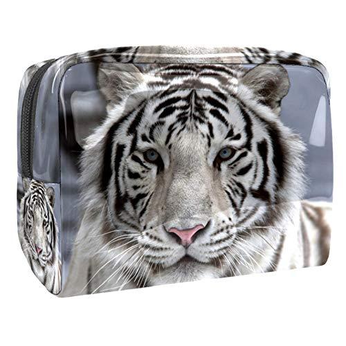 Bolsa de cosméticos para Mujeres Tigre Blanco (2) Bolsas de Maquillaje espaciosas Neceser de Viaje Organizador de Accesorios