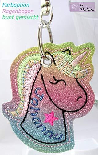 Rainbow EINHORN mit Namen personalisierbar Schlüsselanhänger Taschenanhänger tolles Geschenk f. Geburtstag Adventskalender Füllung Nikolaus Wichteln