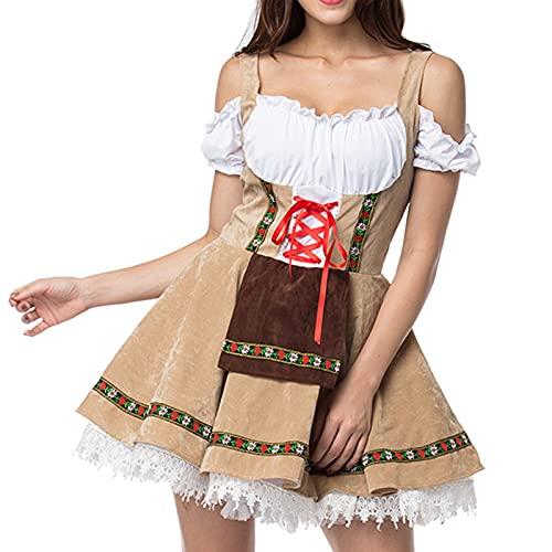 Orgrul Damen Dirndl Kleid Dirndlkleid Trachtenkleid Midi mit Stickerei Braun Schwarz FDD (XXL, Khaki)