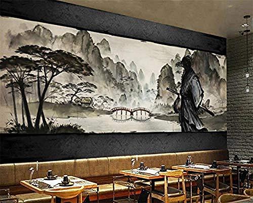 Schwarz-Weiß-Held Samurai Mountain Lake View Japanisches Restaurant 3D-Poster Fotos Wände Kunst Kinderzimmer Cartoo Wanddekoration fototapete 3d Tapete effekt Vlies wandbild Schlafzimmer-300cm×210cm