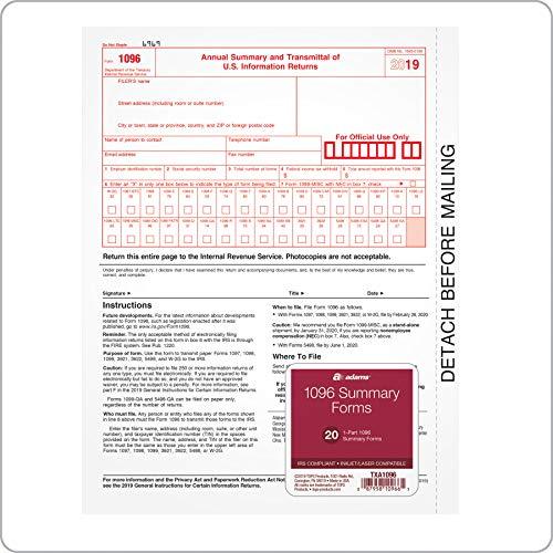 Adams 1096 Forms 2019, Transmittal Forms, 1 Part Inkjet/Laser Forms, 20 per Pack (TXA1096)