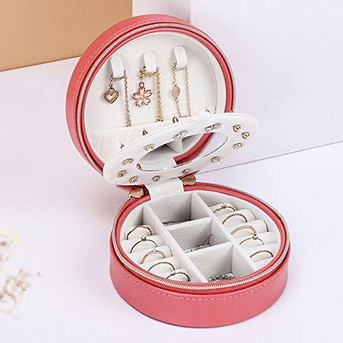 Caja de joyería redonda portátil Cremallera de viaje Cuero de PU Embalaje de joyería Organizador de exhibición Caja de regalo Caja de almacenamiento de pendientes