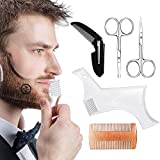 Beard Shaping Tool, Beard Shaping Template Guide Beard Shaper Kit with Wood Comb, Folding Comb and 2 Scissors Perfect for Line up and Edging, Works with any Electric Trimmers or Clippers