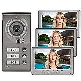 garsent Sistema de intercomunicación con Cable y videoportero Inteligente, 7'HD LCD-Waterproof-Two-Way Conversation - Visión Nocturna infrarroja - 3 * Monitor Interior (EU 110-240v)
