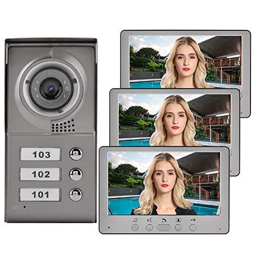 """garsent Sistema de intercomunicación con Cable y videoportero Inteligente, 7""""HD LCD-Waterproof-Two-Way Conversation - Visión Nocturna infrarroja - 3 * Monitor Interior (EU 110-240v)"""