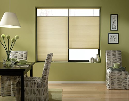 Windowsandgarden Cordless Top Down Bottom Up Cellular Honeycomb Shades, 35W x 36H, Ivory Beige, Any Size 18-38 Wide