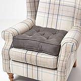 HOMESCAPES Cojín Elevador para sillón, Relleno de poliéster y tapizado en 100% algodón Aterciopelado, 50 x 50 x 10 cm Color Gris