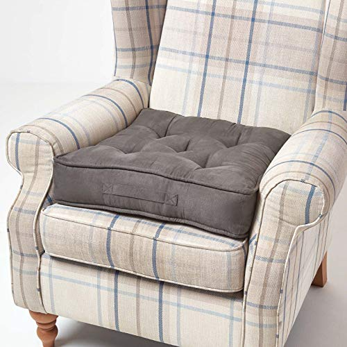 Homescapes Grey Armchair Booster Cushion Large Firm 50 cm Square Seat Pad with Supportive 10 cm Thick Lift Luxury Soft Touch Taupe Grey Faux Suede Cushion For The Elderly, Post-Operative and Pregnancy