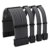 Sleeved Cables PSU Extension Kit 16AWG 30cm ATX 24-pin,CPU4+4-pin,PCI-E 6+2-pin for ATX Power Supply Cable with Black Cable Combs (Grey)