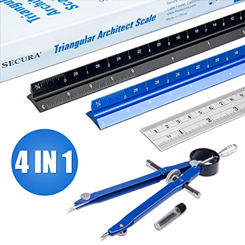 Secura Triangular Architect Scale Ruler Set, Aluminum Triangular Scale Ruler for Blueprint, 12 Inch Imperial Scale Ruler for Drafting with Stainless Steel Ruler and Metal Compass
