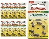 EarPower - Lote de 60 pilas auditivas de tamaño 10 / A10 (lote de 10 placas), para dispositivos...