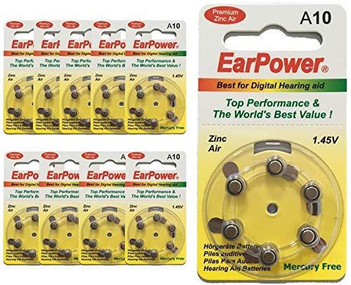 EarPower Hörgeräte, Größe 10/A10, 10 Stück (10 Stück) – für Hörgeräte/Hörhilfen – ohne Quecksilber – Spannung 1,45 V / PR70 / Premium Zinc Air / A10 / P10 /
