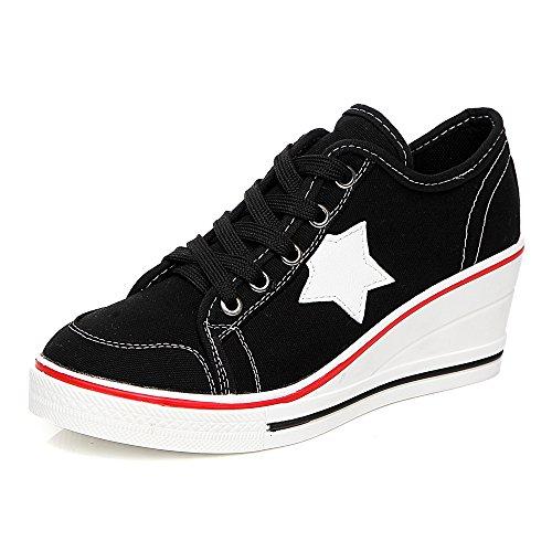 Zapatillas de tacón para Mujer de Lona con Plataforma de tacón, Zapatillas de Bomba de Moda #3, Etiqueta Negra 43-UK 8