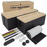 Nature Supplies 2 Cajas para Organizar Cables Hecha en Madera de Pino - 1 Caja Organizadora Mediana para Escritorio, 1 Organizador Grande para Piso (Negro)