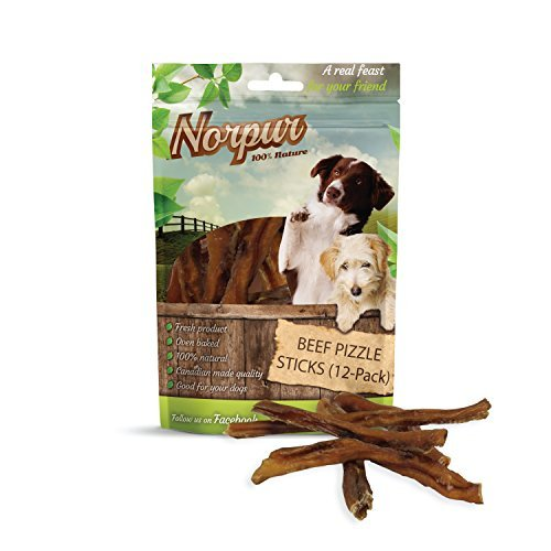 Norpur Beef Thin Pizzle Sticks Dog Treats (12-Pack) All-Natural, Healthy Snacks | Puppies, Adults, Seniors | Chewy, Oven-Baked, Slow-Roasted Flavor | Made in Canada (12-Count)