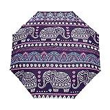 QMIN Paraguas plegable automático indio, tribal floral, mandala, elefante, animal, resistente al viento, protección UV, paraguas compacto para lluvia, para mujeres, hombres y niñas