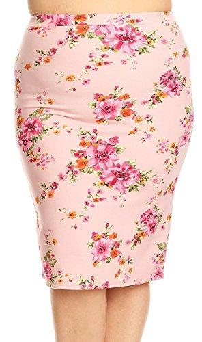 BNY Corner Women Plus Size Trendy Floral Pattern Pencil Skirt Elastic Waistband Light Pink 2XL S170 FLO