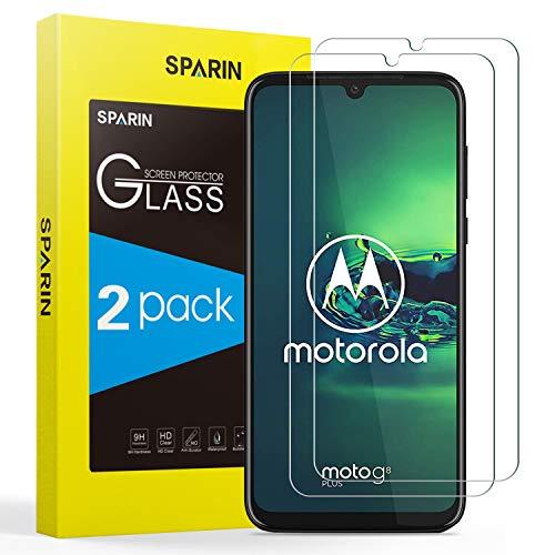 SPARIN [2 Pack Compatibile con Vetro Tempererato Moto G8 Plus, in Vetro temperato [Facile Installazione] [Compatibile con Custodia] [HD Trasparente] [durezza 9H] [Non per Moto G8 e G8 Play]