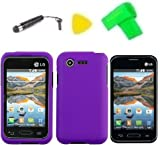 Phone Case Cover Cell Phone Accessory + Extreme Band + Stylus Pen + LCD Screen Protector + Yellow Pry Tool for Straight Talk LG Optimus Fuel L34C (Purple)