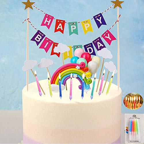 DTShow 5Packs Cake Topper- Rainbow Cake Topper, Balloon Topper, Colorful Happy Birthday Cake Topper, White Cloud Cake Topper and Spiral Cake Candles for Birthday Baby Shower Party
