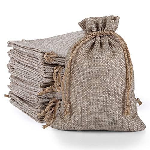 Naler - 24 bolsas de regalo para joyas, perlas de yute, bolsas de lino, calendario de Adviento, decoración de boda, Navidad natural